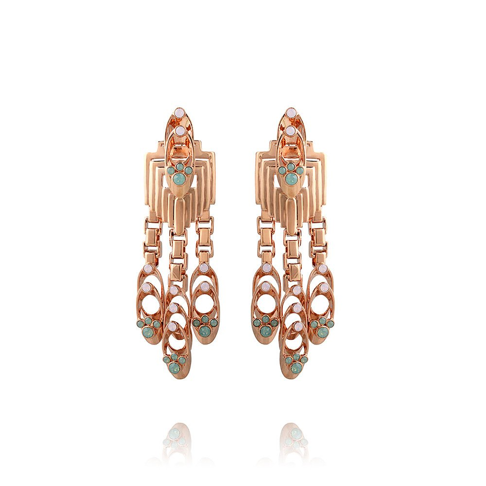 Mawi Deco Stacked Tube Crystal Chandelier Earrings