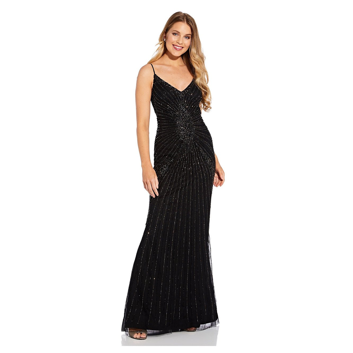 Adrianna Papell Beaded Spaghetti Strap Gown