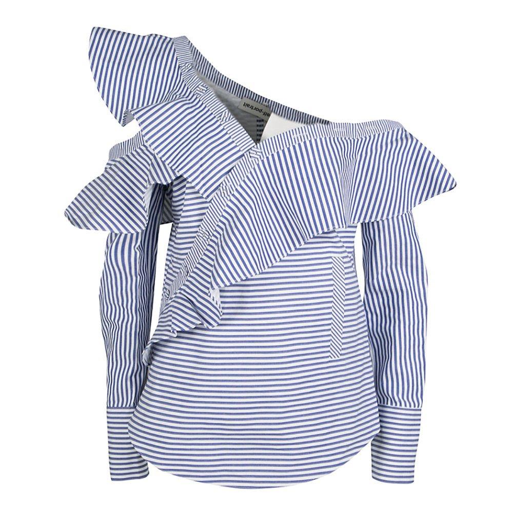 Self-Portrait Striped Asymmetrical Ruffle Shirt