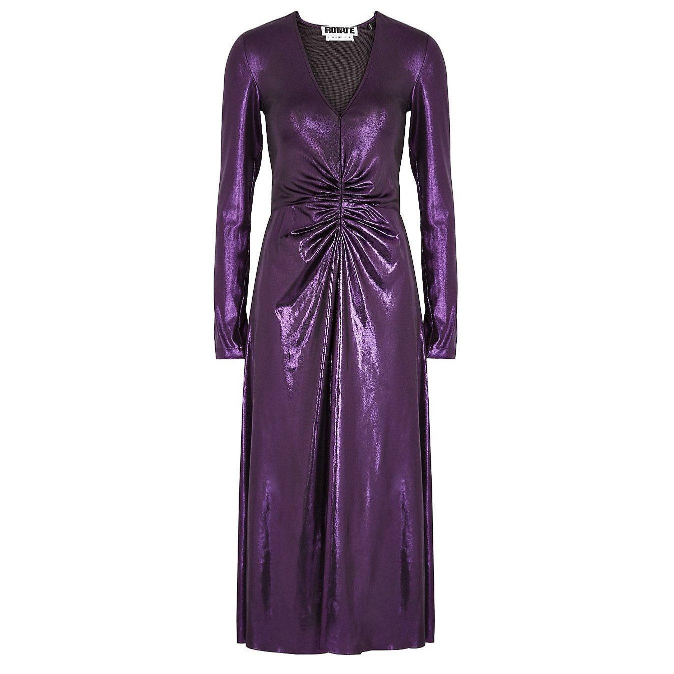 ROTATE Birger Christensen Metallic Ruched Midi Dress