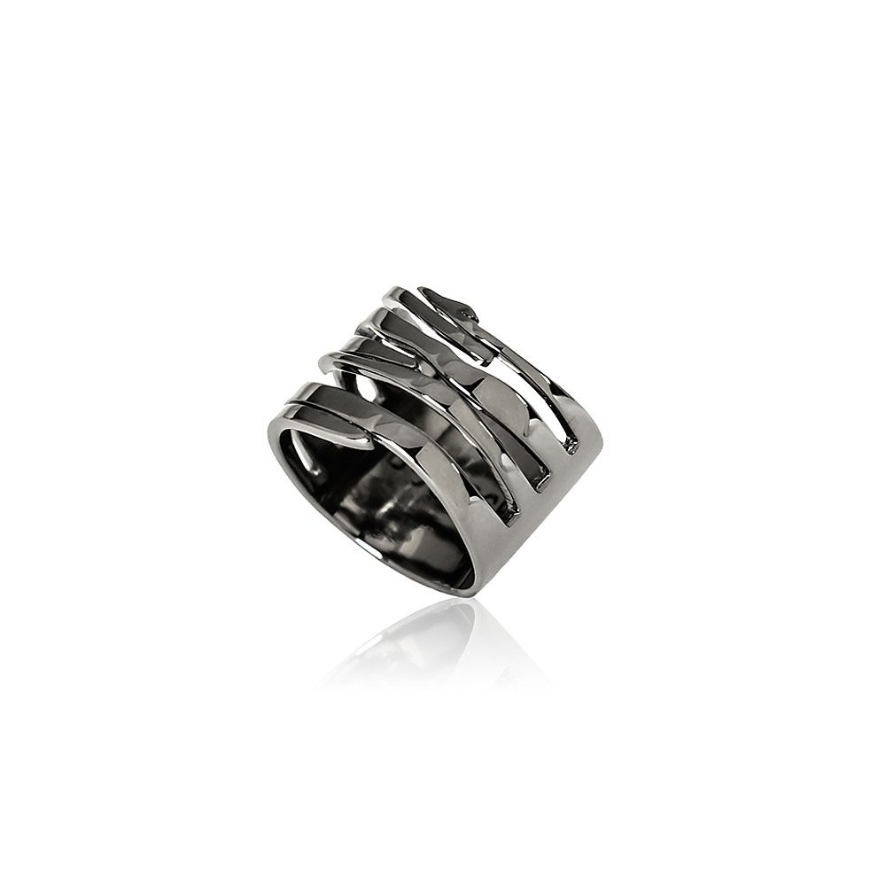 House of Bourgeois Tiger Stripe Band in Rhodium