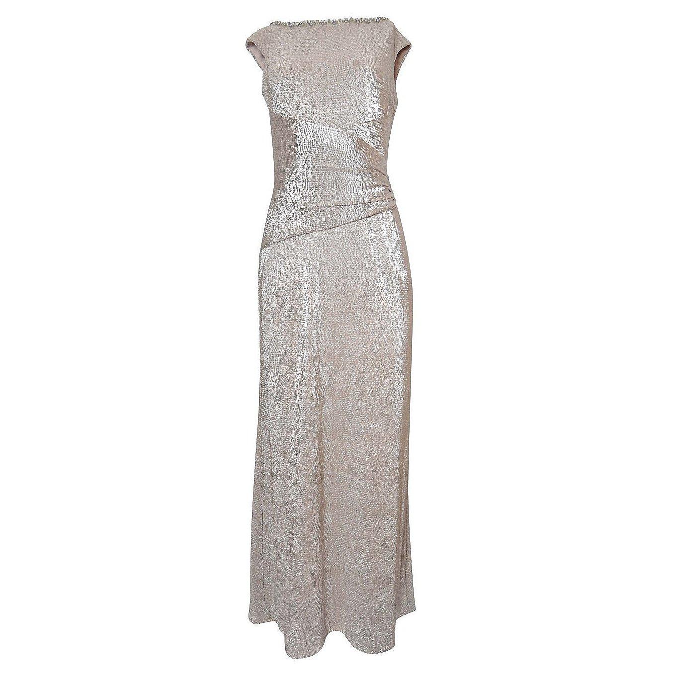 Ralph Lauren Ruched Metallic Maxi Dress