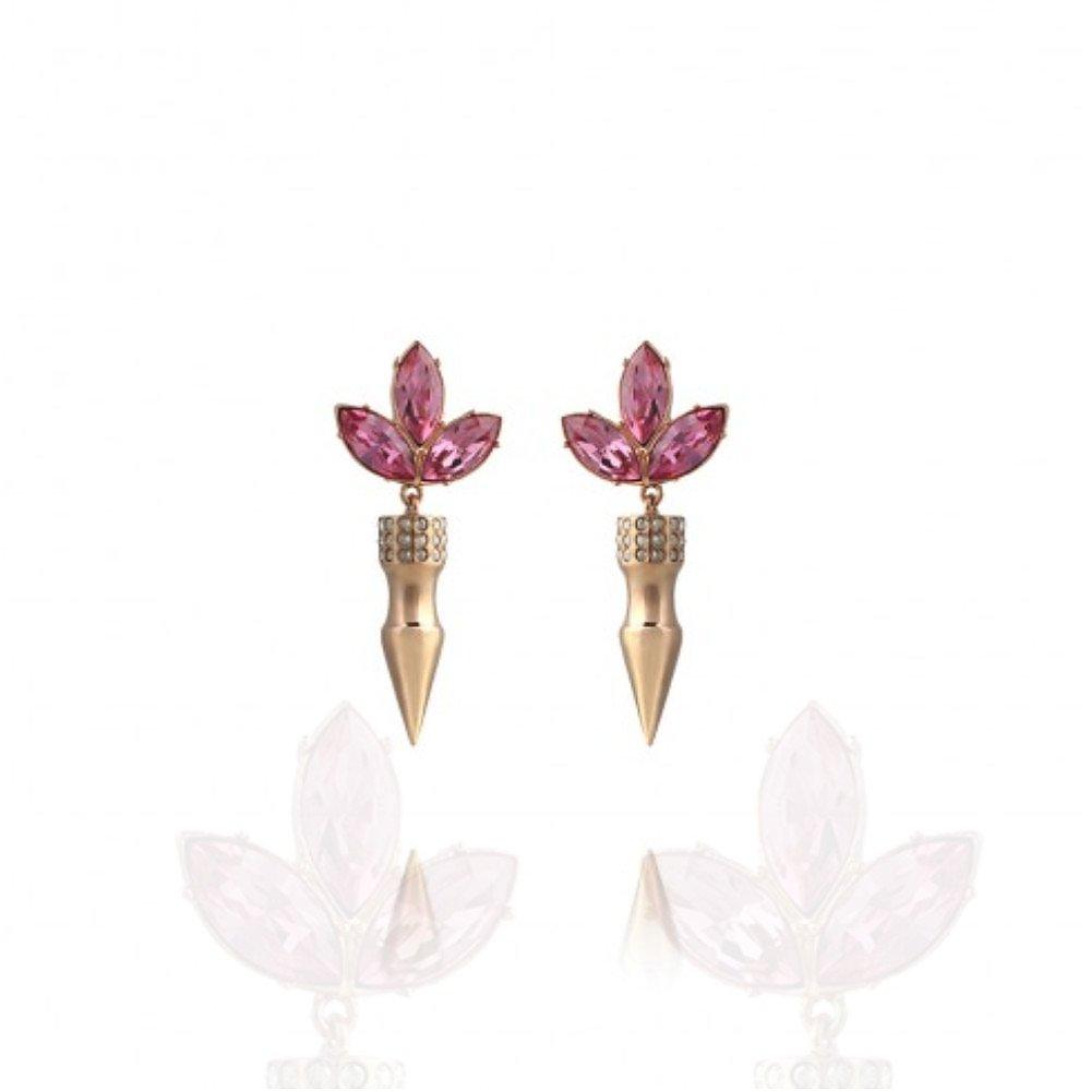 Mawi Large Spike Crystal Leaf Earrings