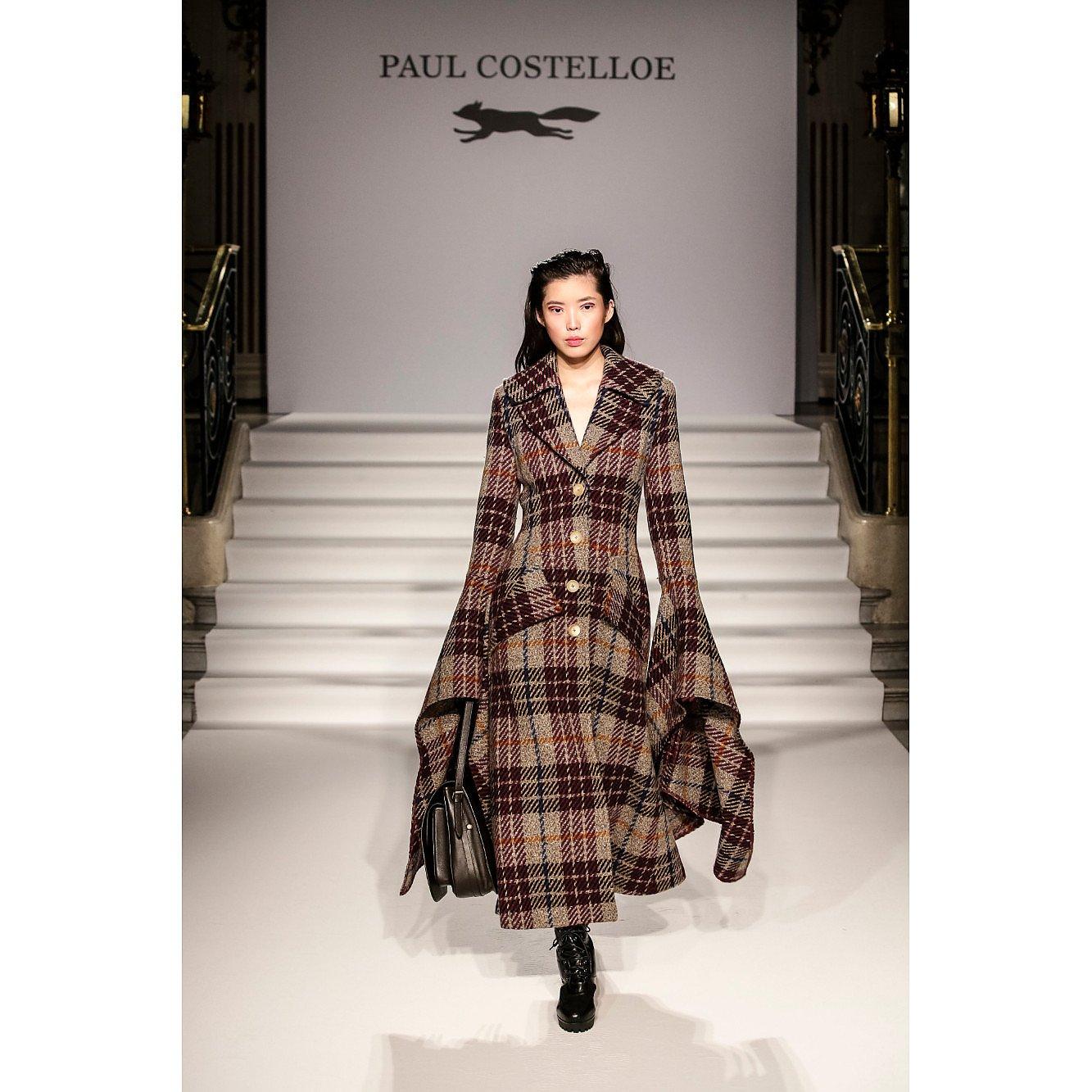 Paul Costelloe Flare Sleeve Tartan Coat