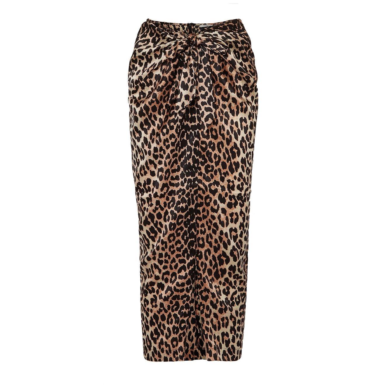 Ganni Calla Wrap-Effect Leopard Print Skirt