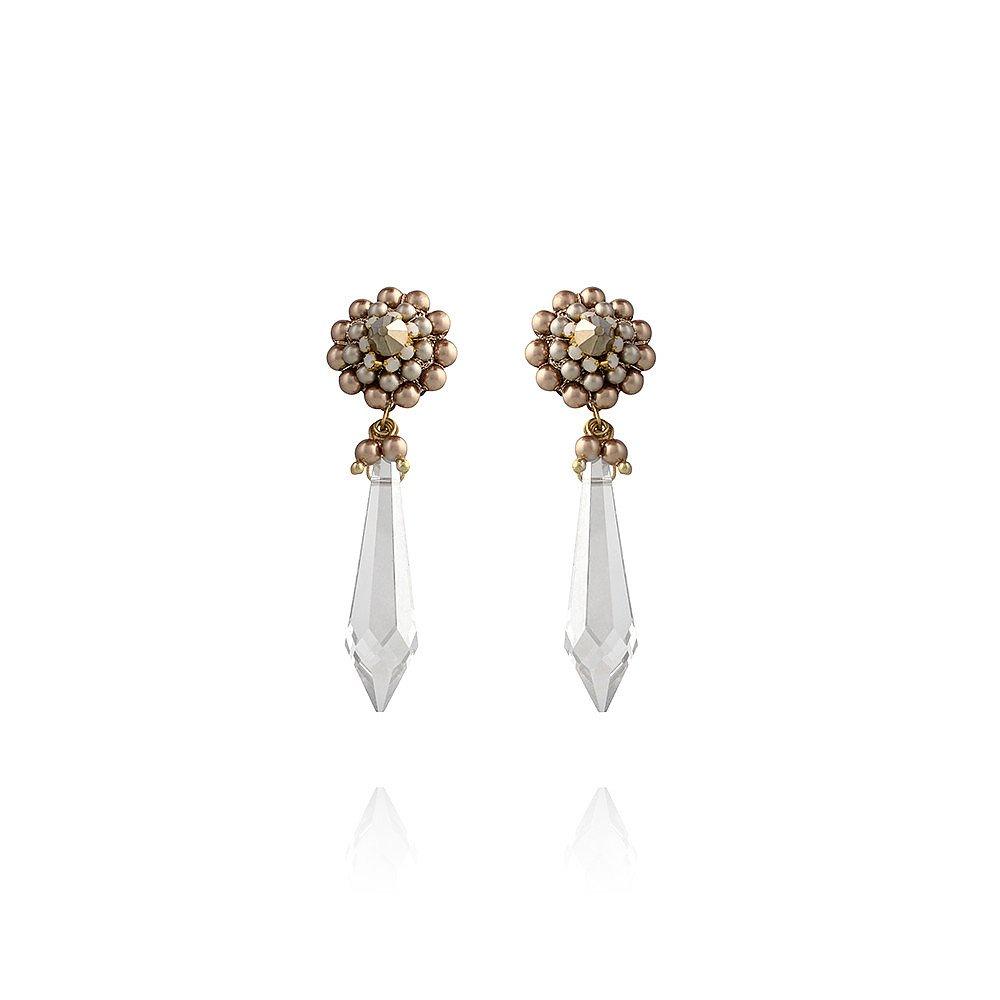 St Erasmus Pearl and Crystal Chandelier Earrings