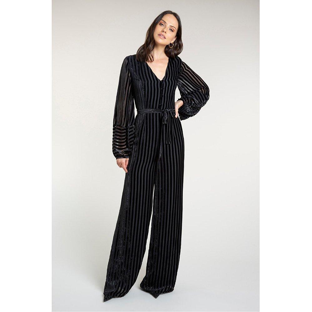 Beulah Aaloka Striped Velvet Jumpsuit