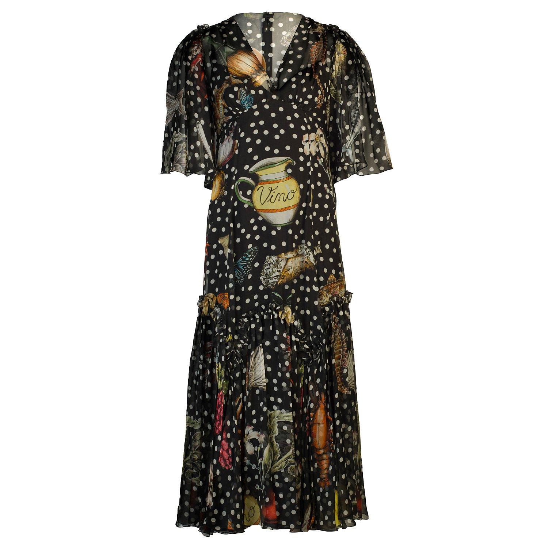 DOLCE & GABBANA Sea Print Silk-Chiffon Midi Dress