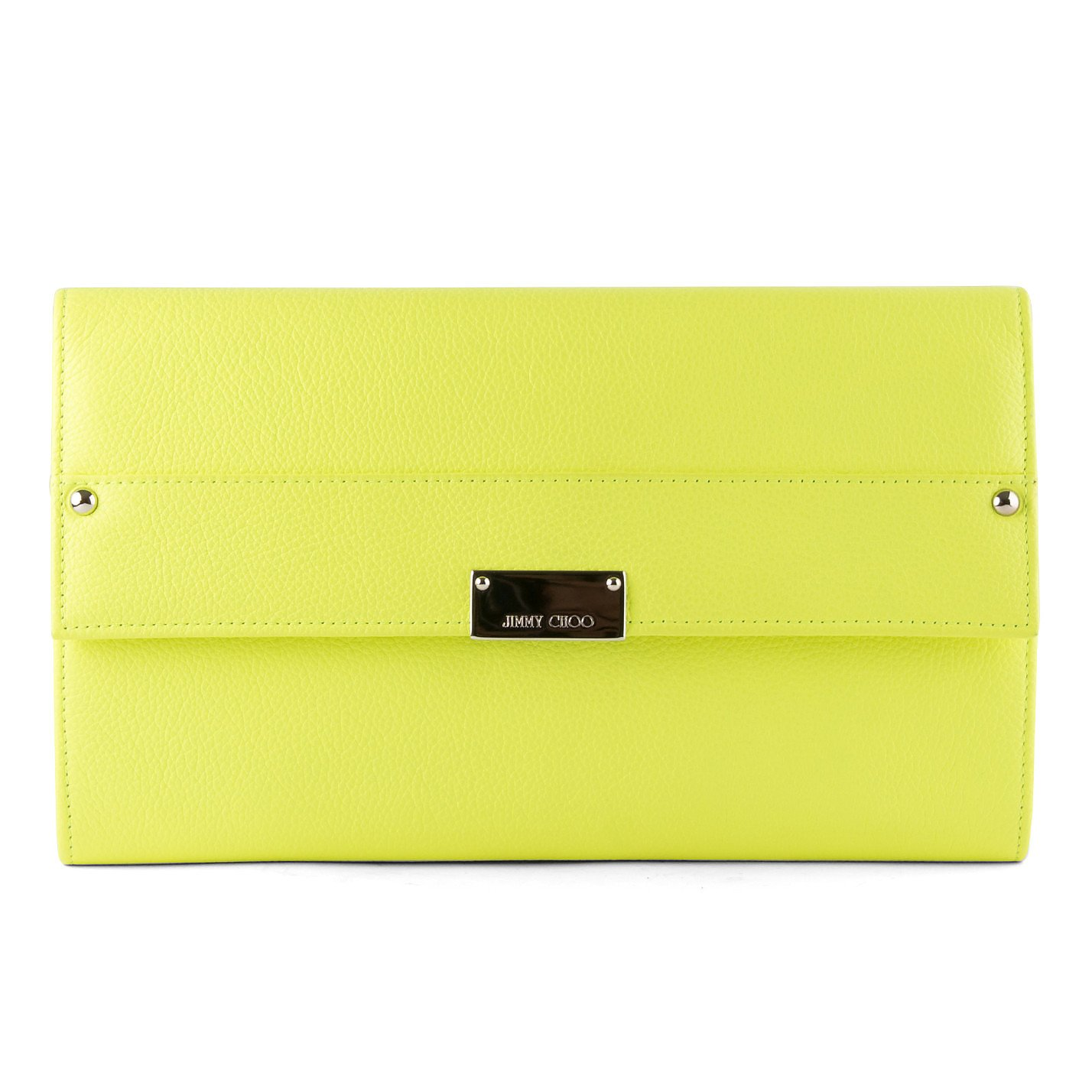 Jimmy Choo Neon Textured Leather Clutch