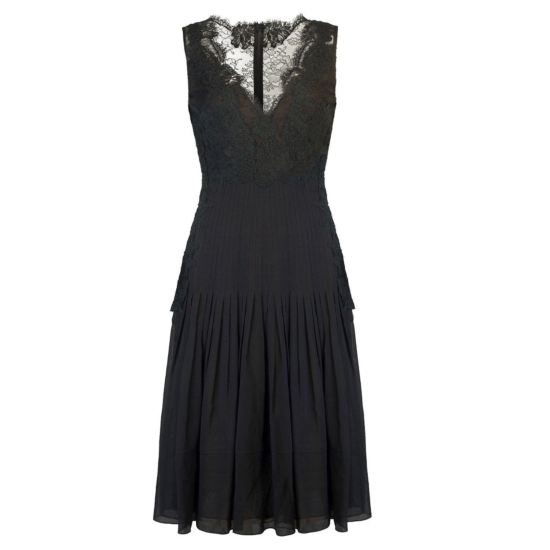 Oscar De La Renta Pleated Lace-Trimmed Midi Dress