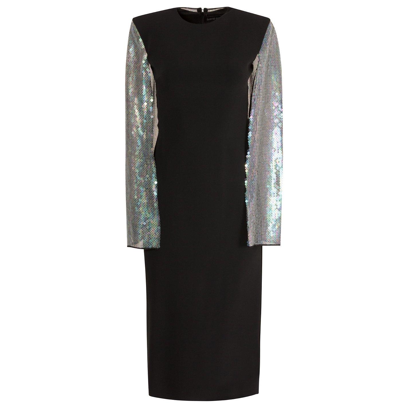 David Koma Cape-Sleeve Sequinned Crepe Dress