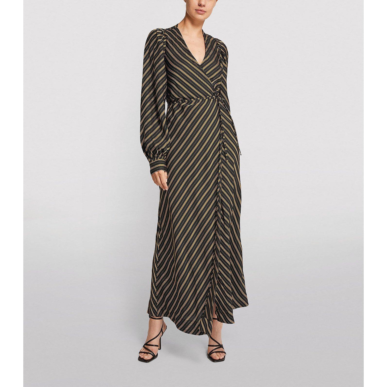 Ganni Stripe Print Wrap Dress