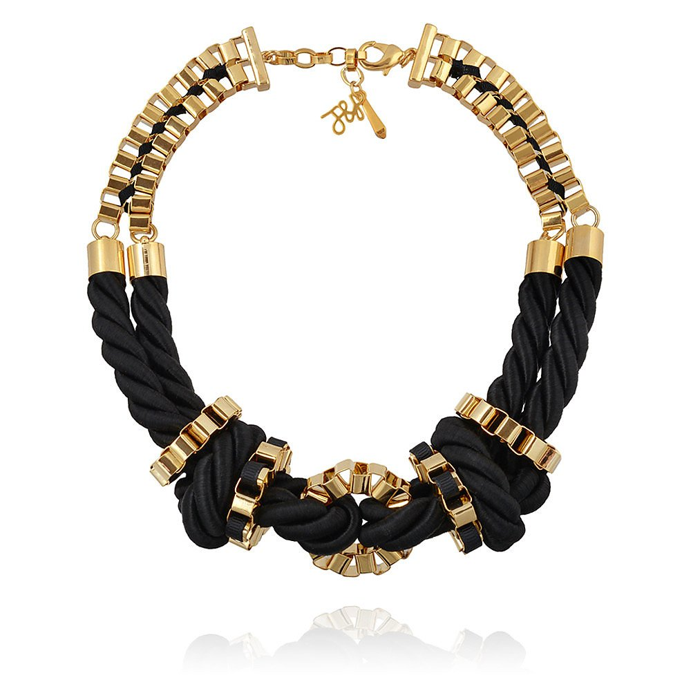 John & Pearl Knot Necklace in Gold and Black