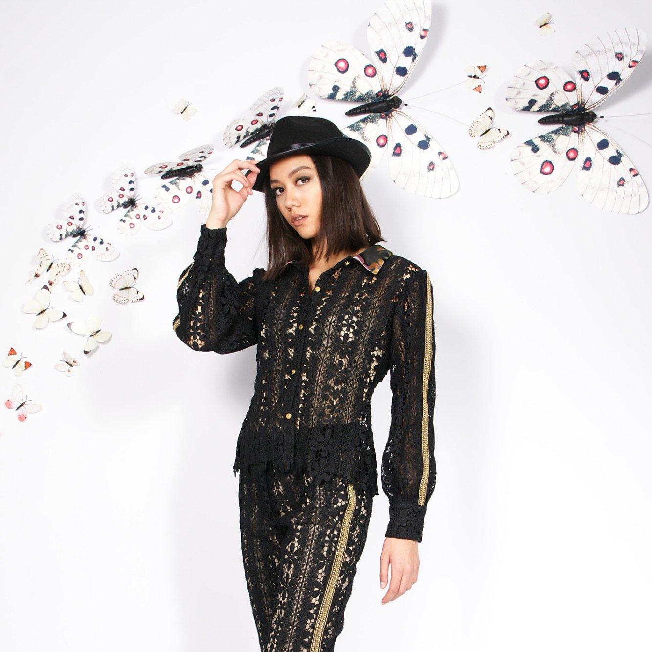 Syra J Crochet Blazer With Sleeve Piping