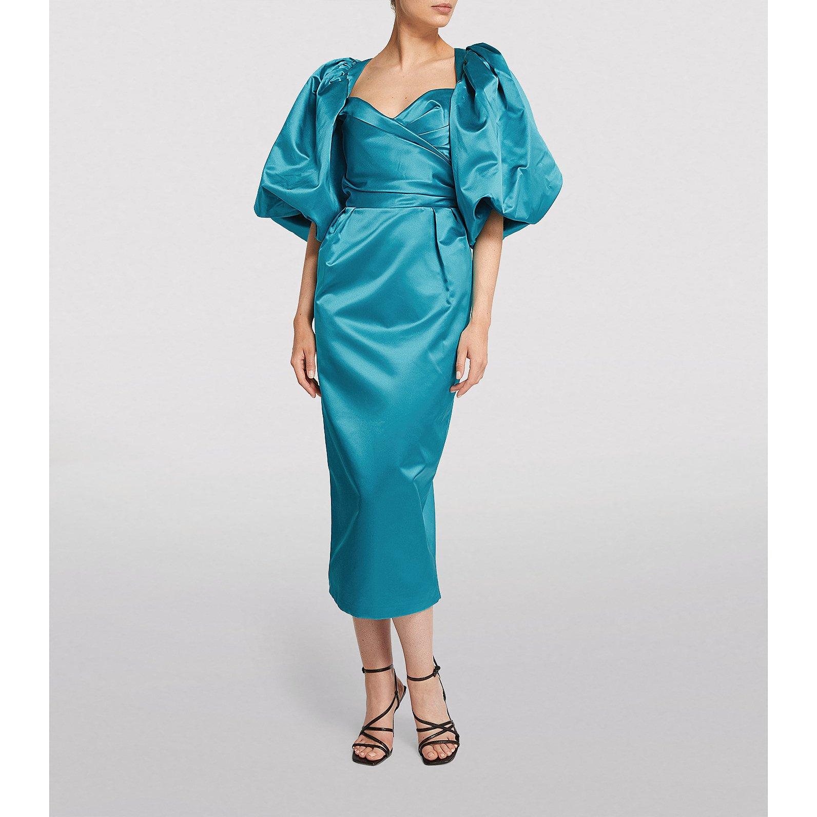 Rasario Satin Puff-Sleeved Midi Dress