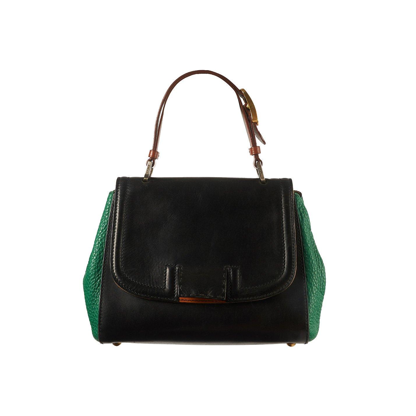 Fendi Silvana Top Handle Leather Shoulder Bag