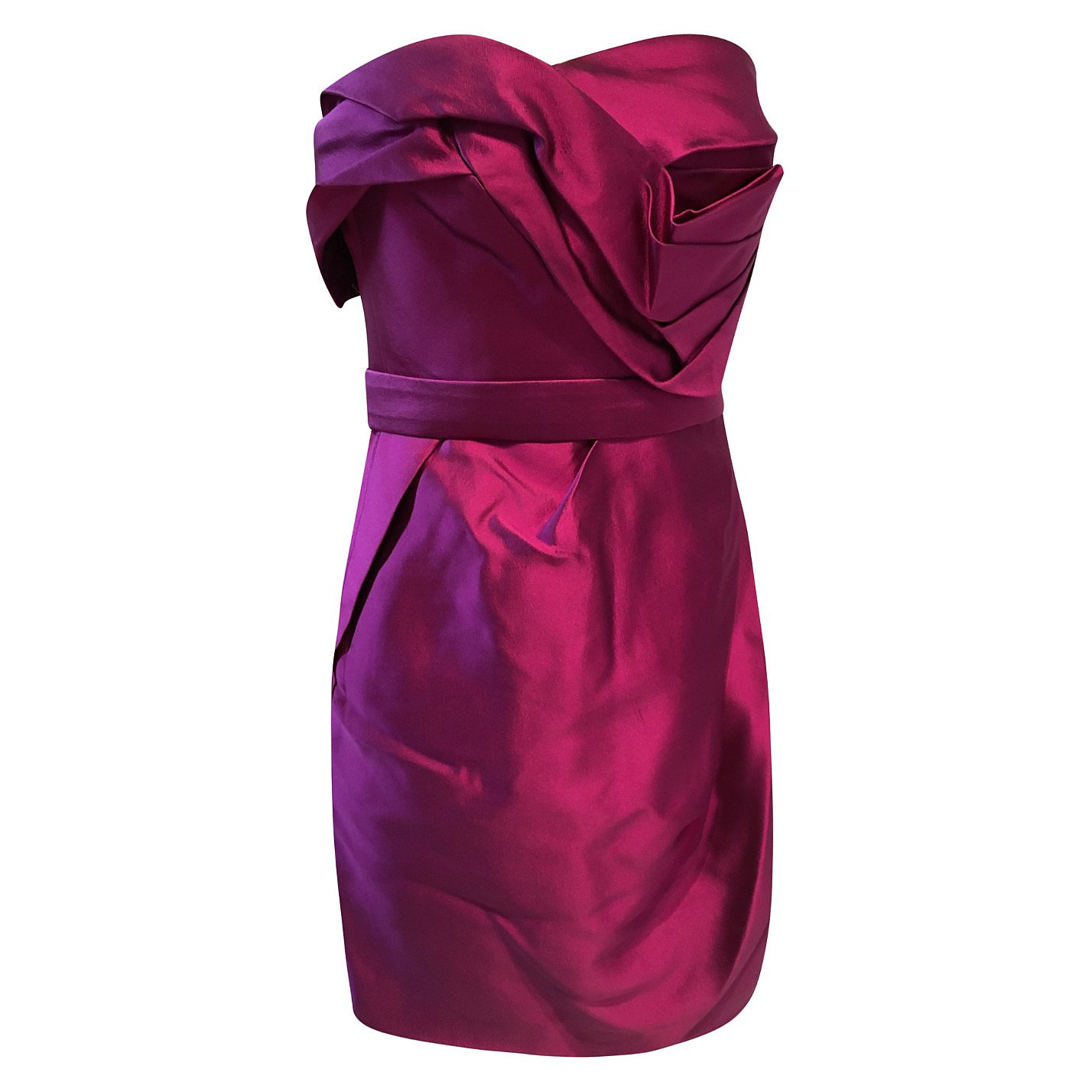 Marchesa Couture Structured Satin Mini Dress
