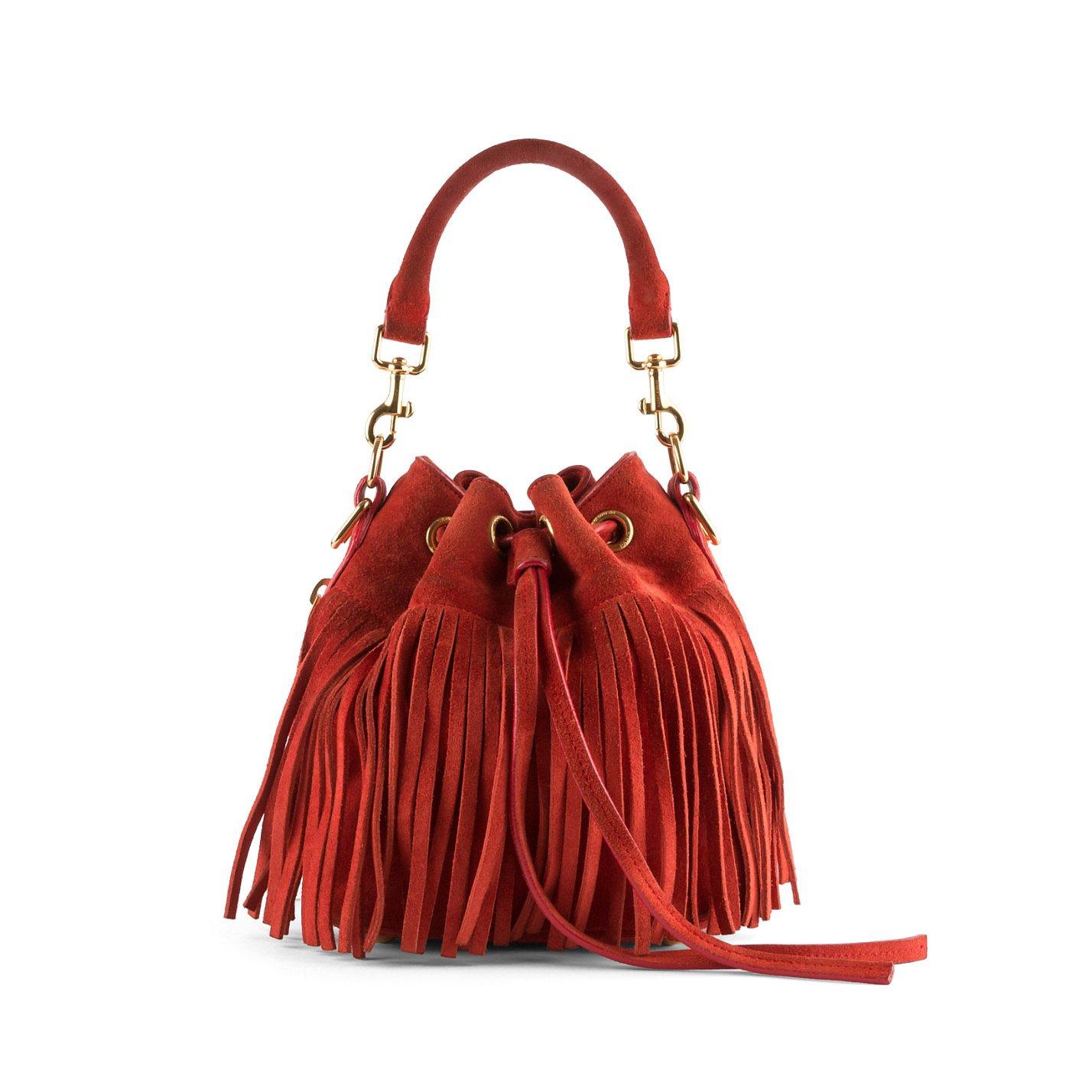 Saint Laurent Emmanuelle Suede Fringe Bucket Bag