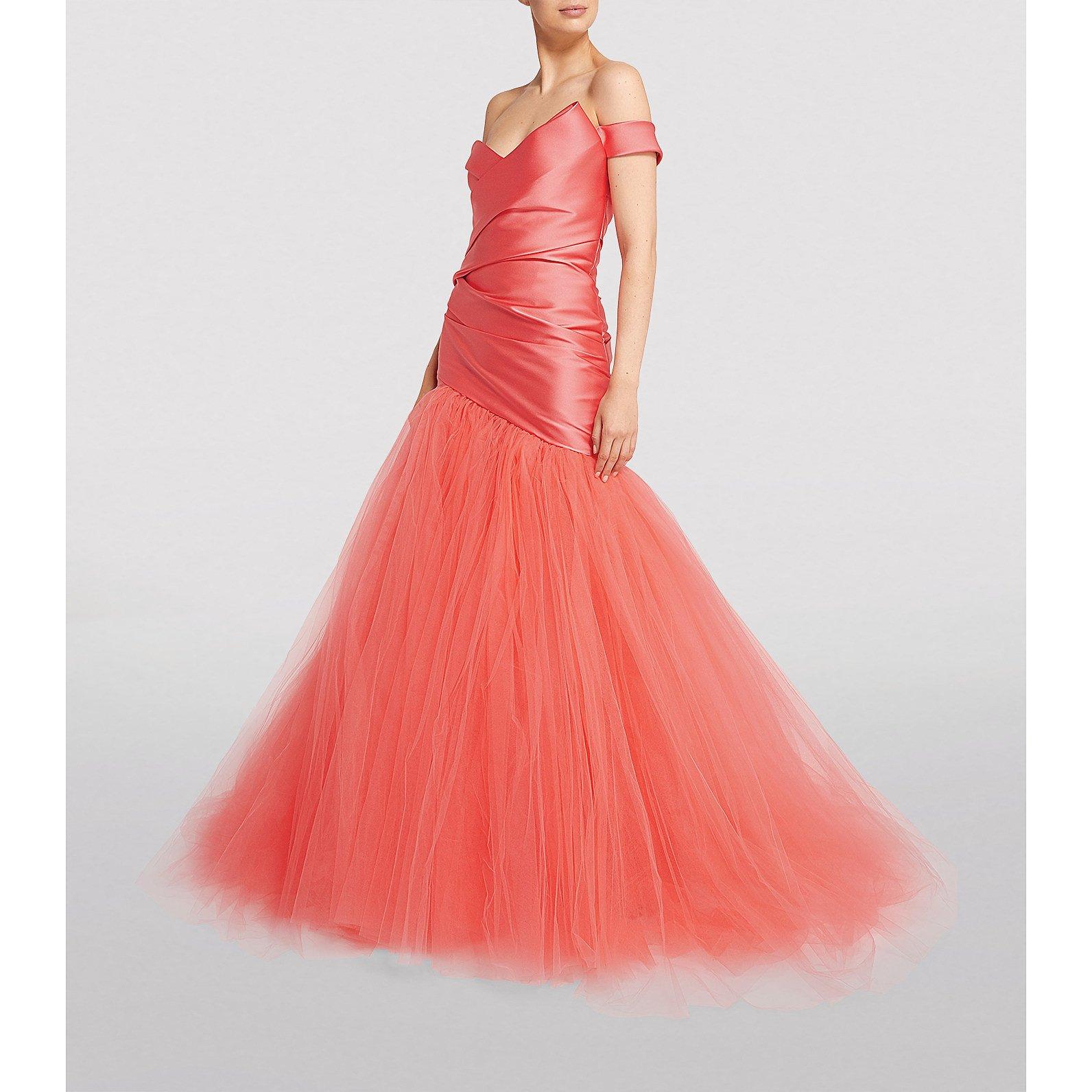 Monique Lhuillier Off-Shoulder Fishtail Gown