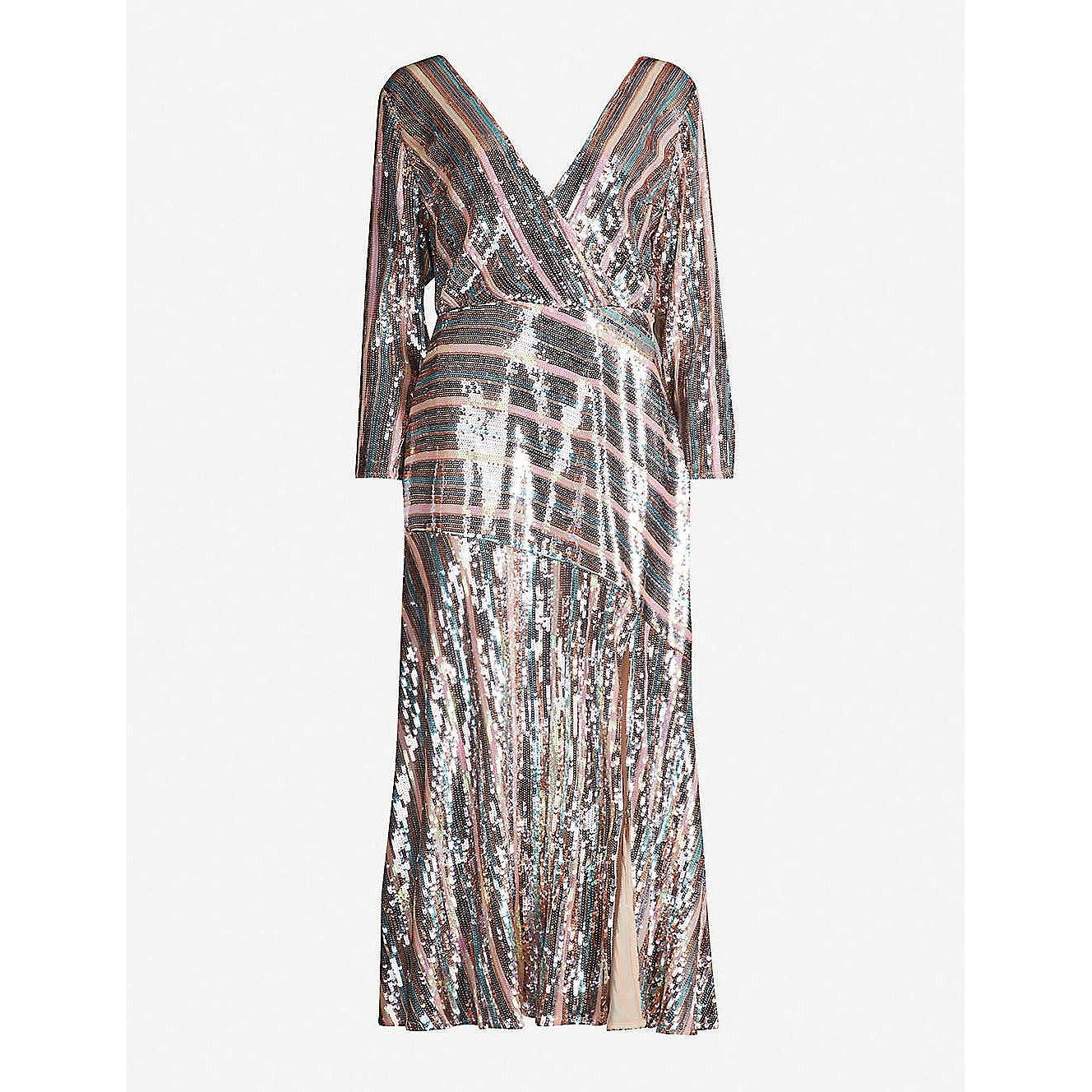 Rixo Tyra Sequin Stripe Midi Dress