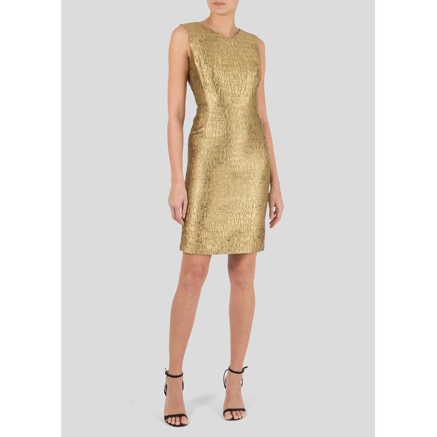 Oscar De La Renta Metallic Sleeveless Dress