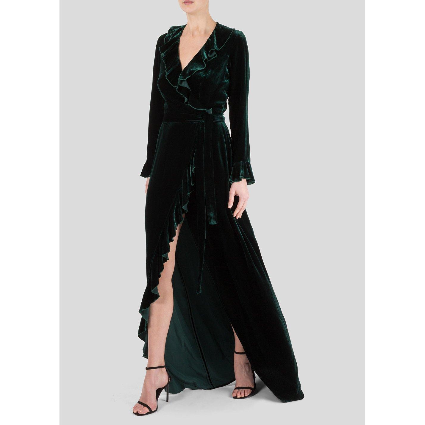 Dhela Silk Velvet Wrap Dress