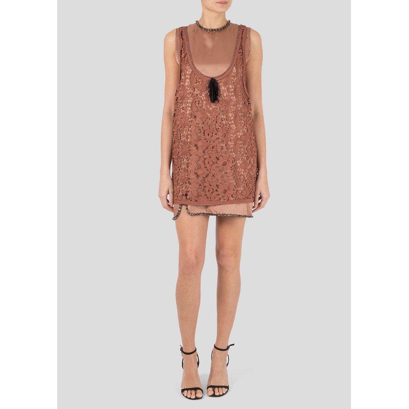 No.21 Lace Crystal Embellished Mini Dress