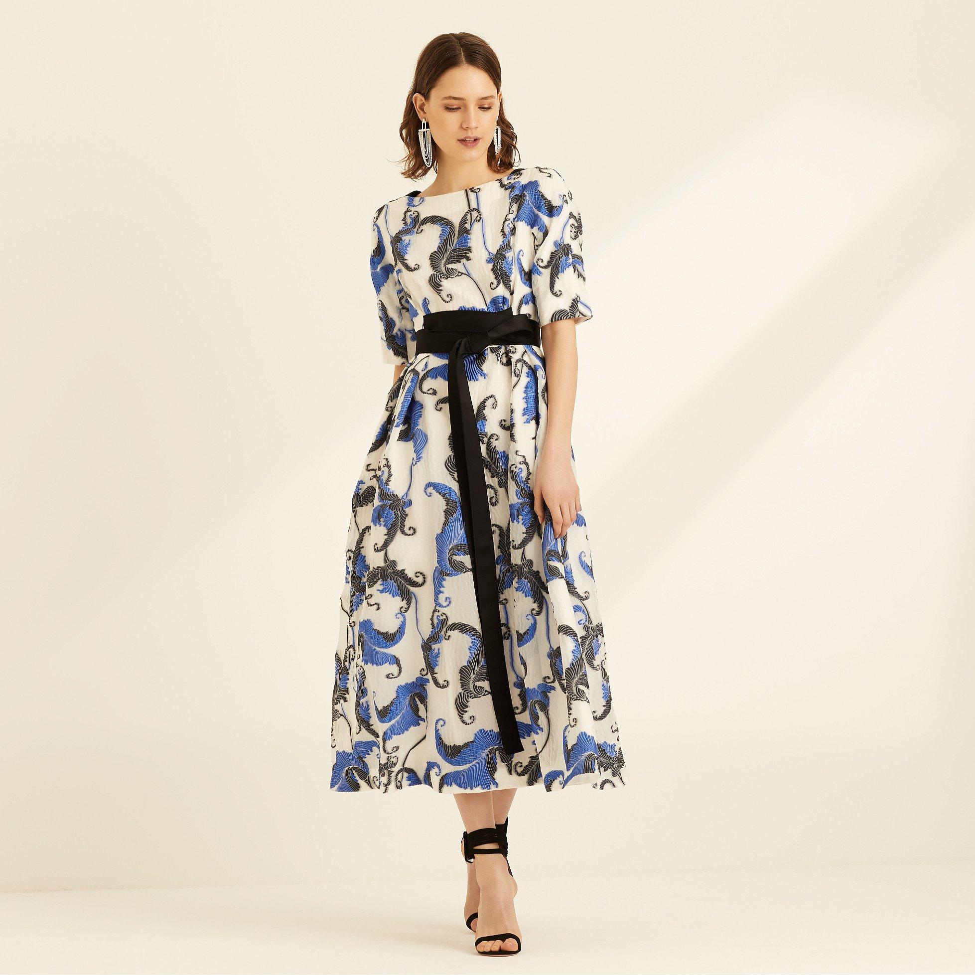 Amanda Wakeley Cloque Jacquard Midi Dress