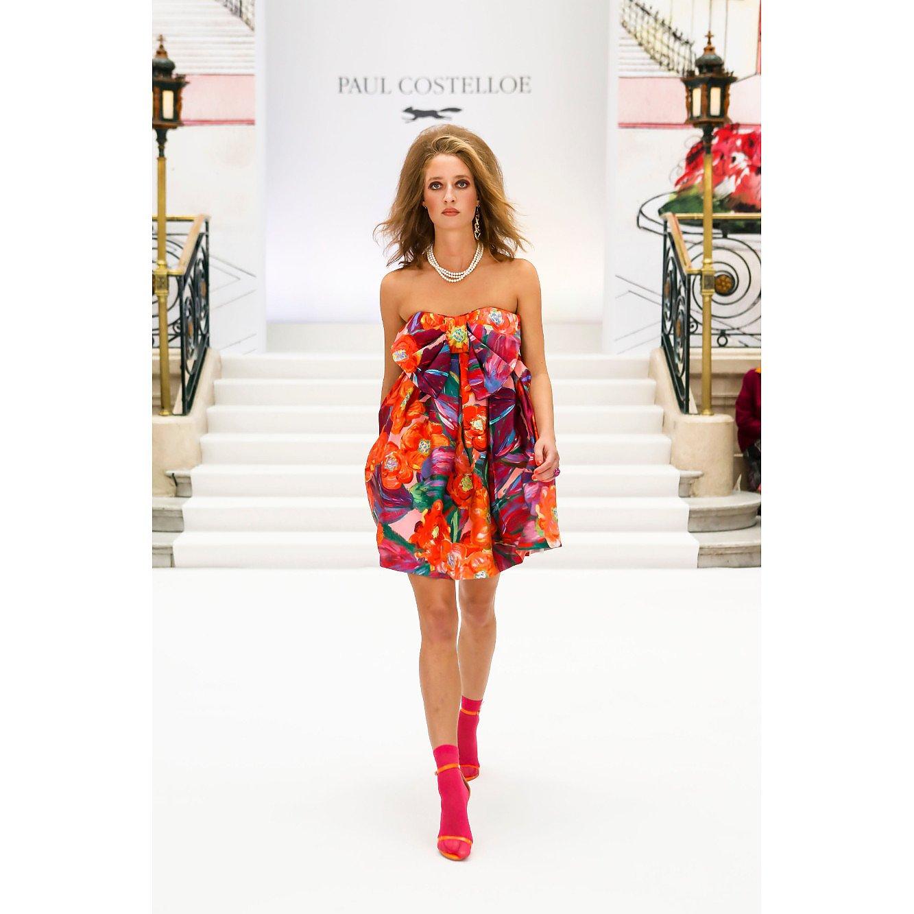 Paul Costelloe Strapless Printed Bow Dress