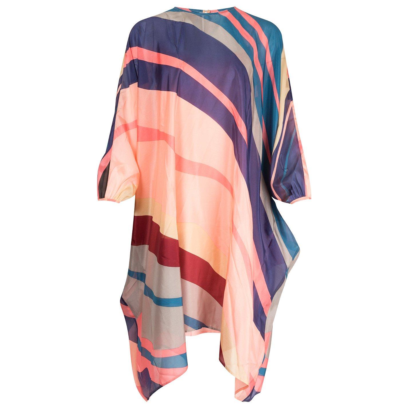 Dhela Striped Silk-Chiffon Tunic Dress