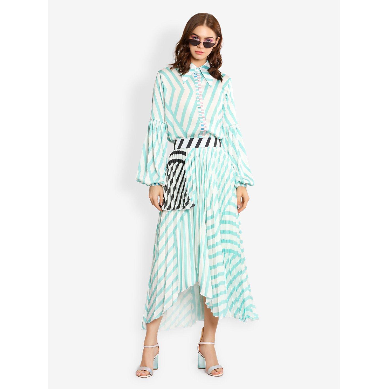 L'Mane Stripy Pleated Midi Skirt