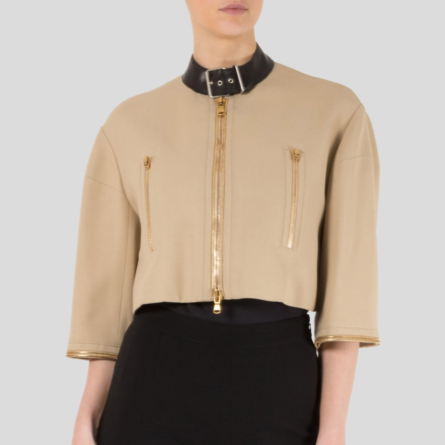 Alexander McQueen Cropped Jacket With Neck Buckle Detail