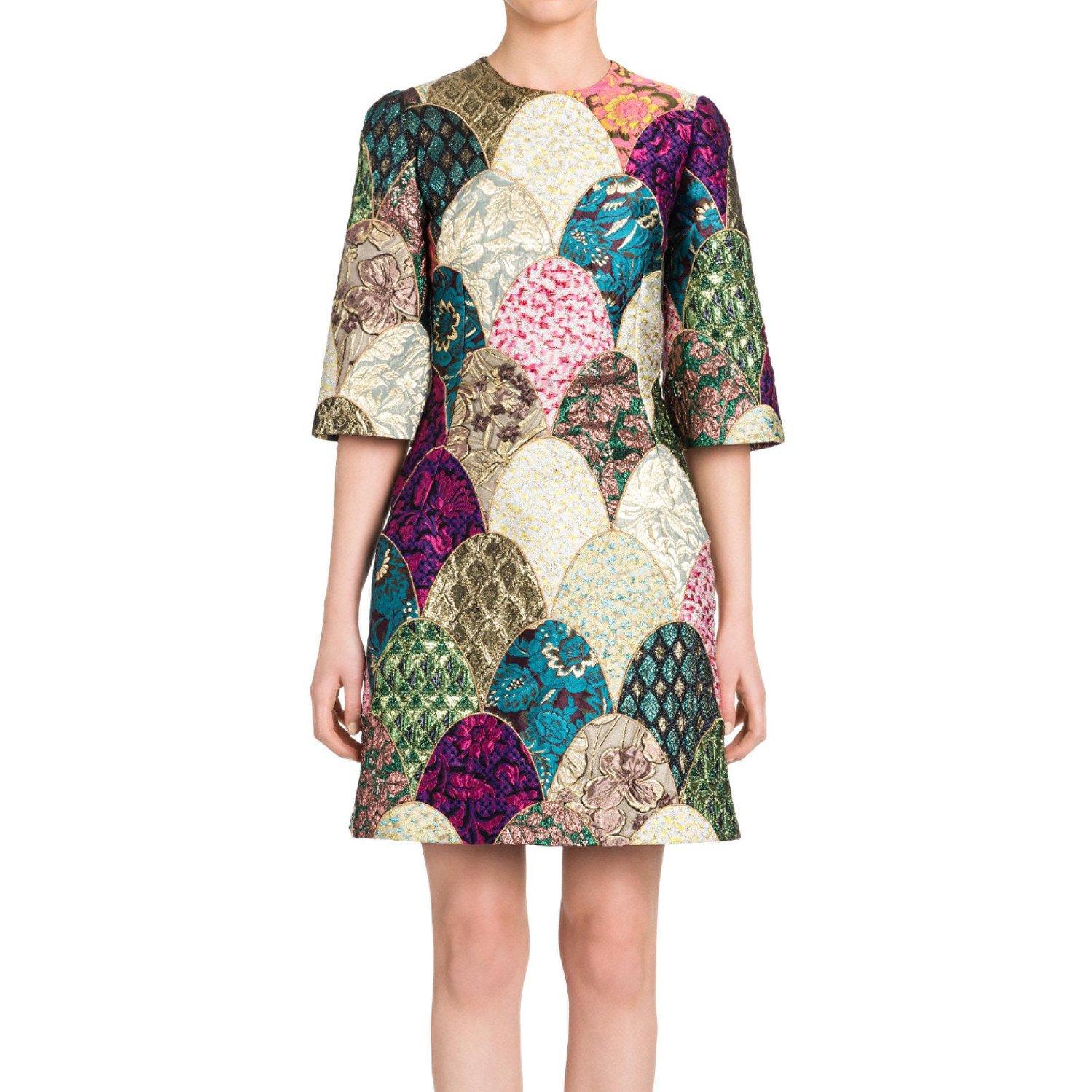 DOLCE & GABBANA Jacquard Patchwork Dress