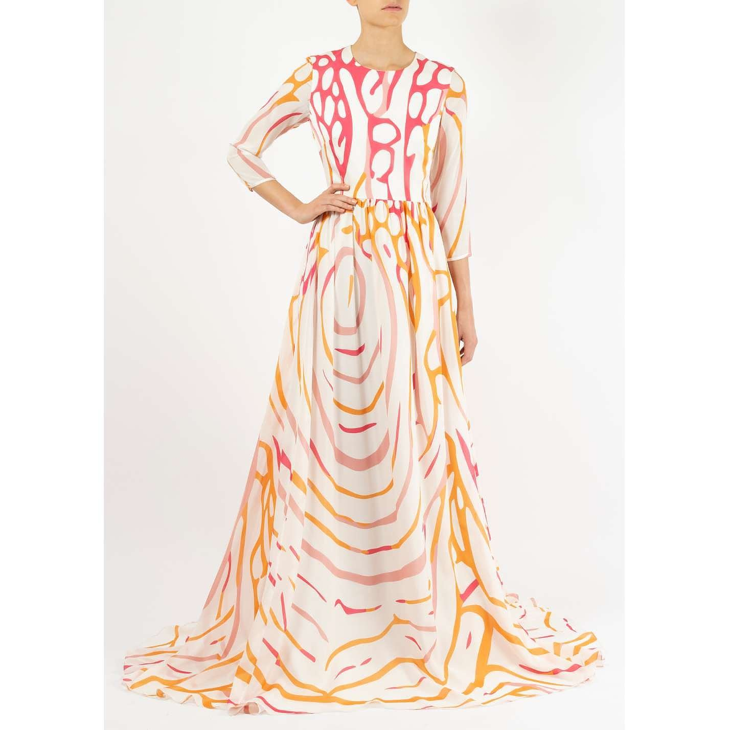 Dhela Angelfish Printed Silk Gown