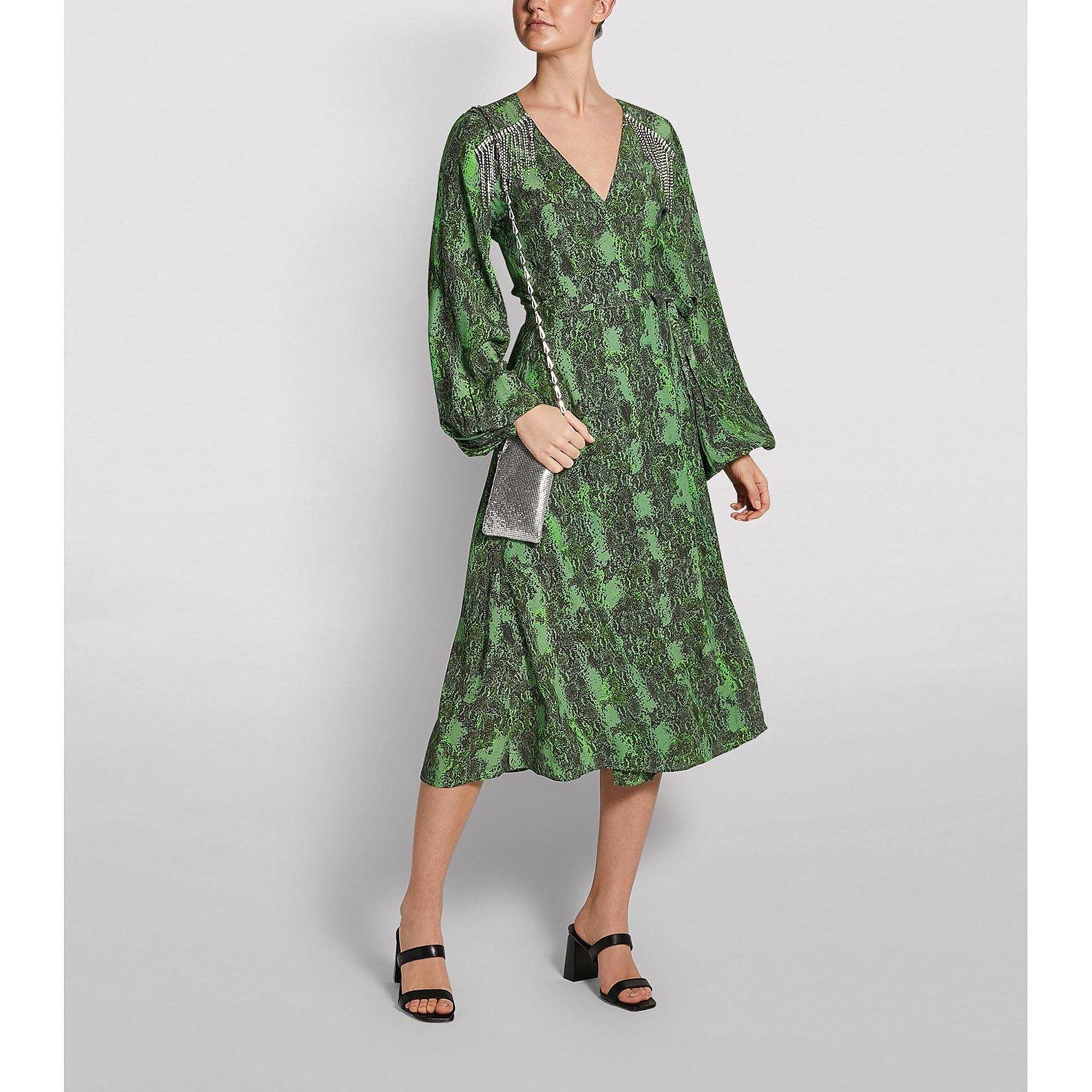 ROTATE Birger Christensen Embellished Kira Midi Dress