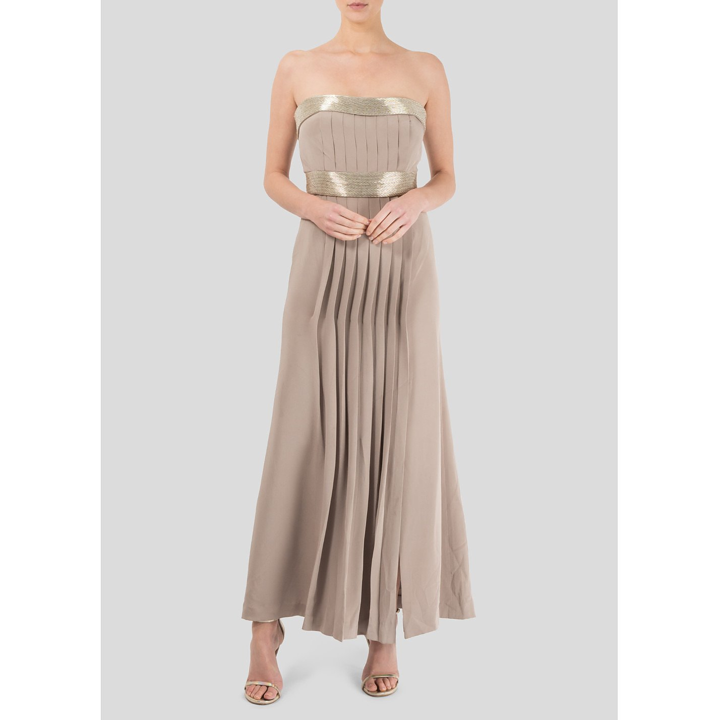 Roland Nivelais Strapless Embellished Pleated Gown