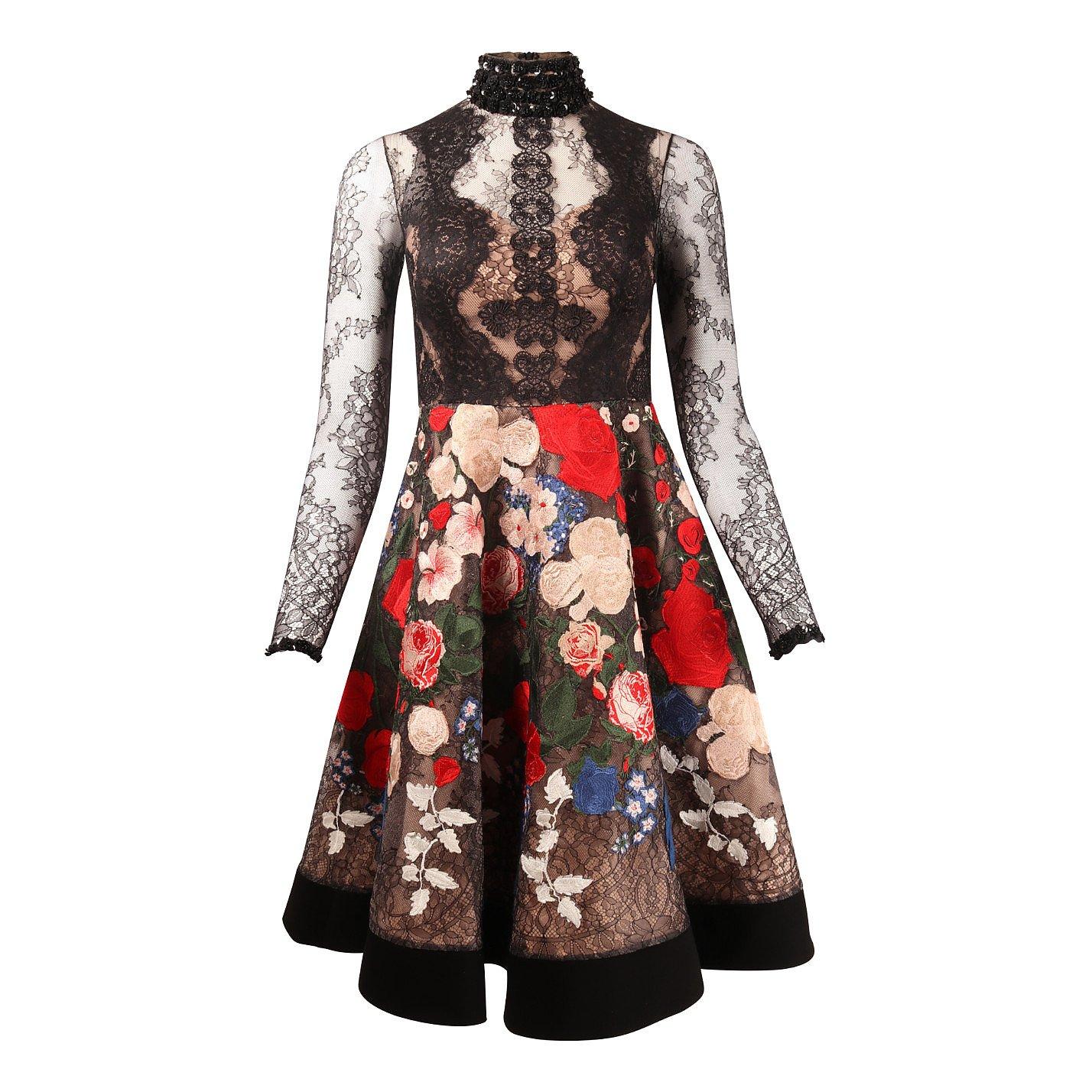 Hussein Bazaza Embroidered High Neck Dress