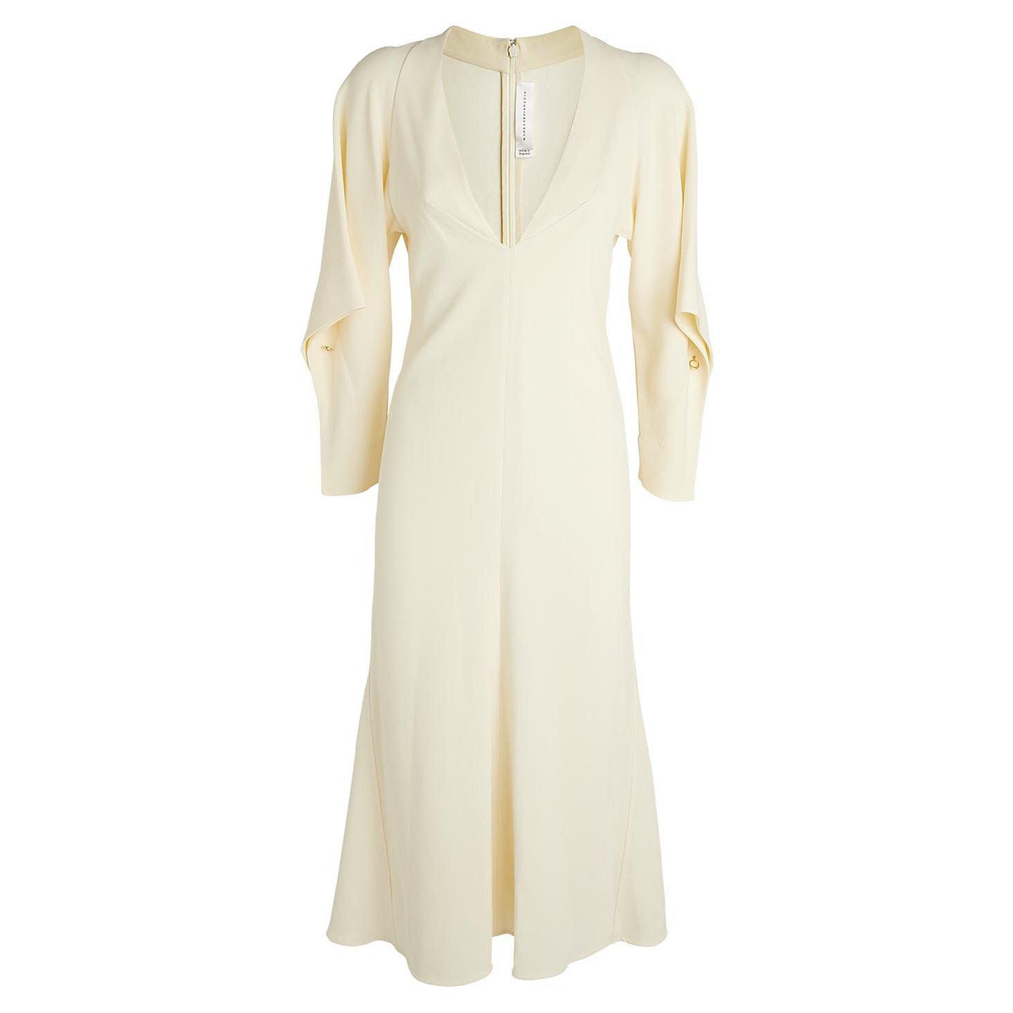 Victoria Beckham Draped Sleeve V-Neck Dress