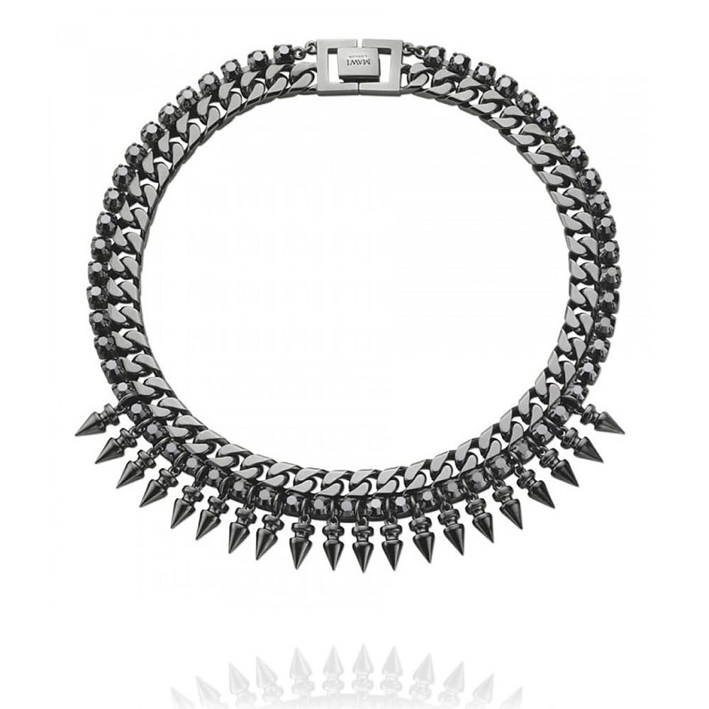 Mawi Spike Necklace with Crystal in Hematite