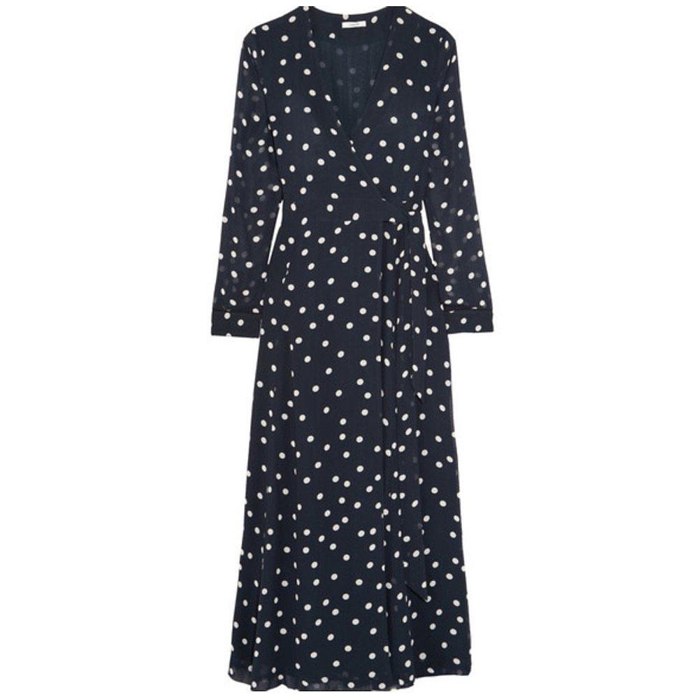 Ganni Polka-Dot Chiffon Wrap Dress