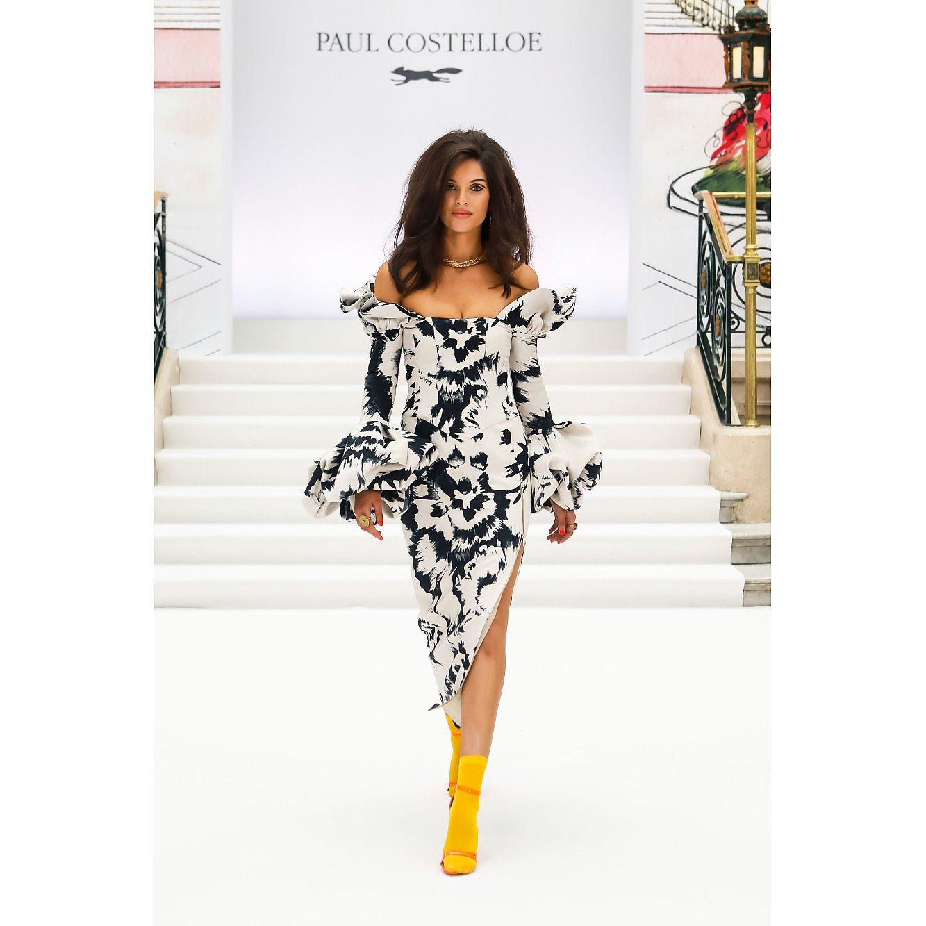 Paul Costelloe Off The Shoulder Printed Midi Dress