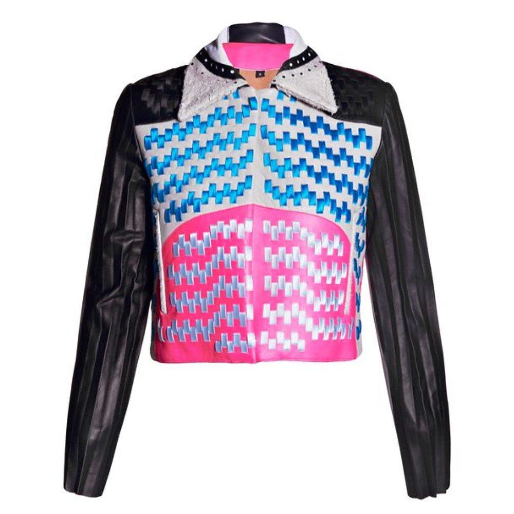 Martina Spetlova Woven Multicolour Leather Jacket