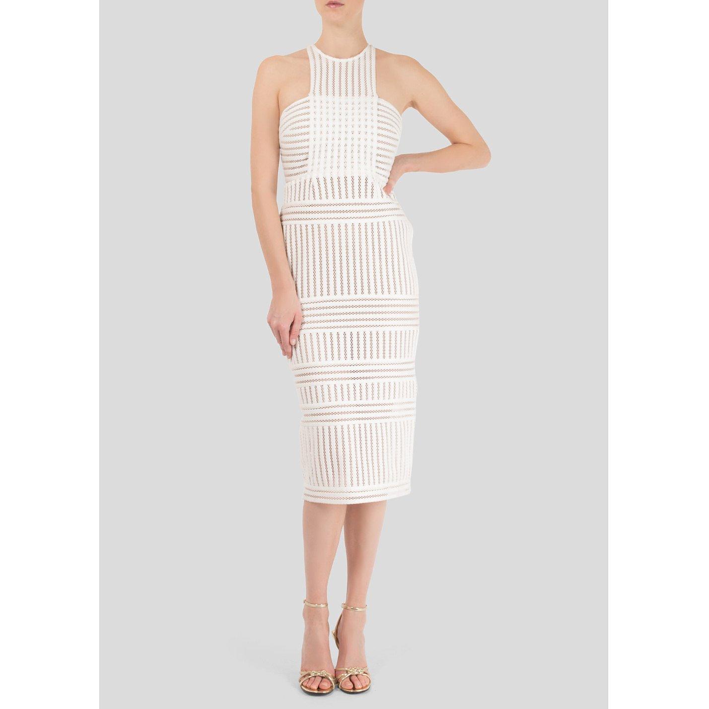 Self-Portrait Striped Honeycomb-Mesh Midi Dress