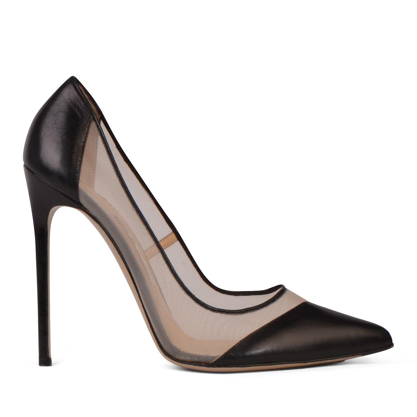 Bionda Castana Mesh Detail Leather Heels