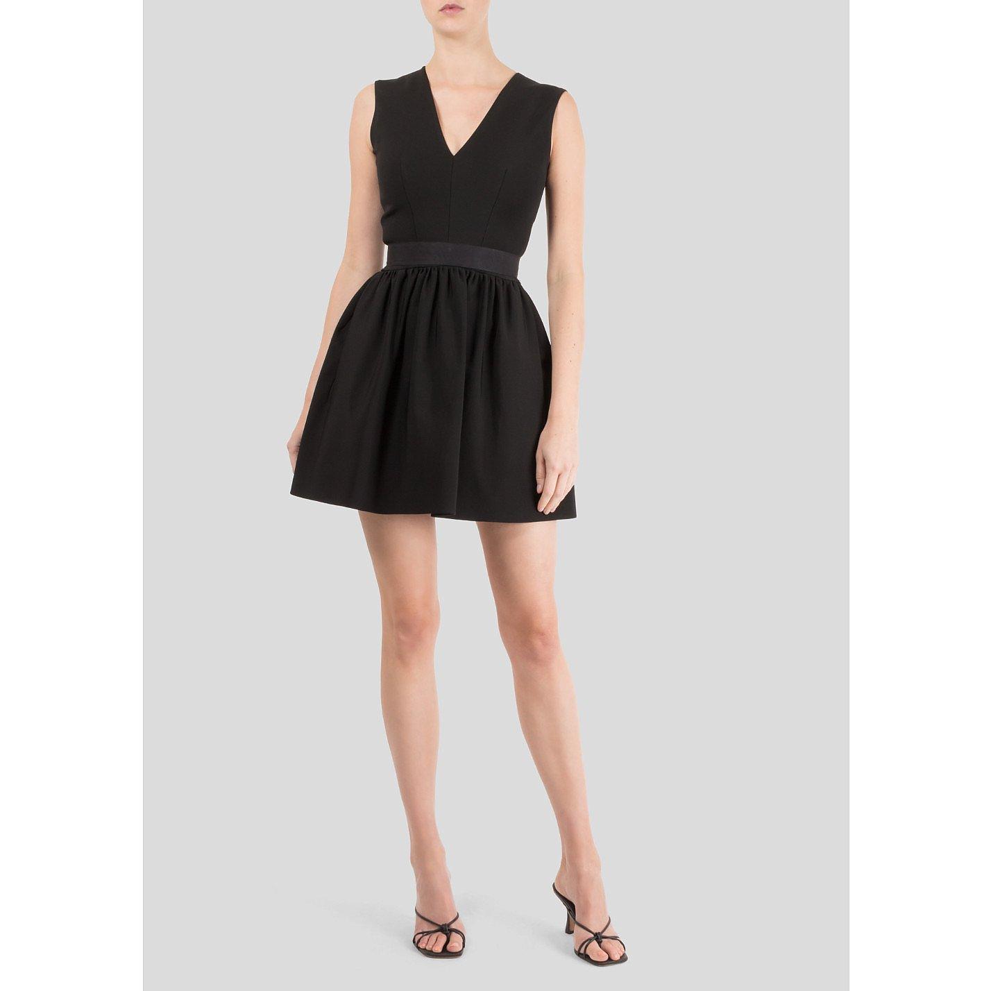 Victoria Beckham V-Neck Sleeveless Mini Dress with Full Skirt