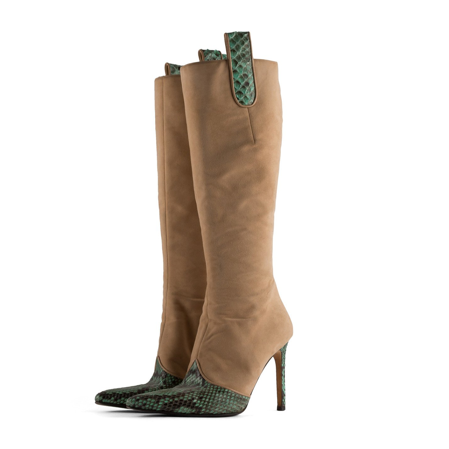 Gina Kitten Boots With Snakeskin Detailing