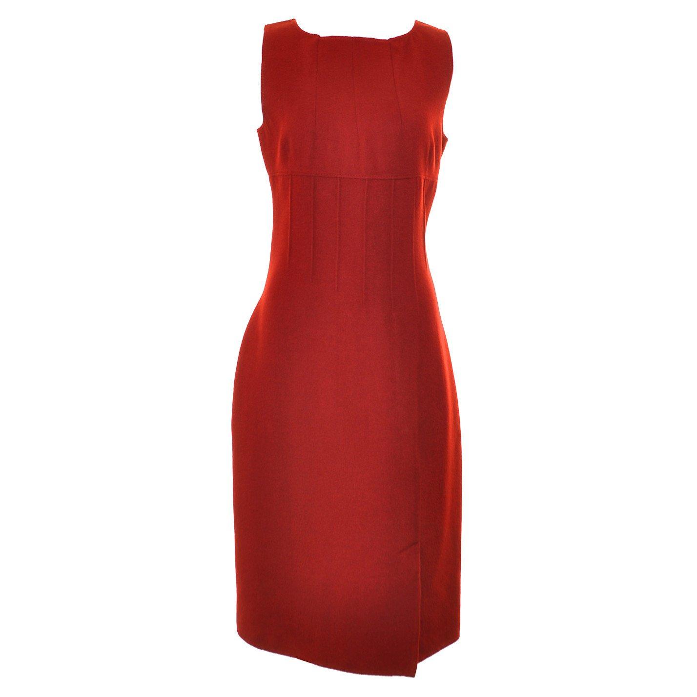 Valentino Sleeveless Darted Wool Dress