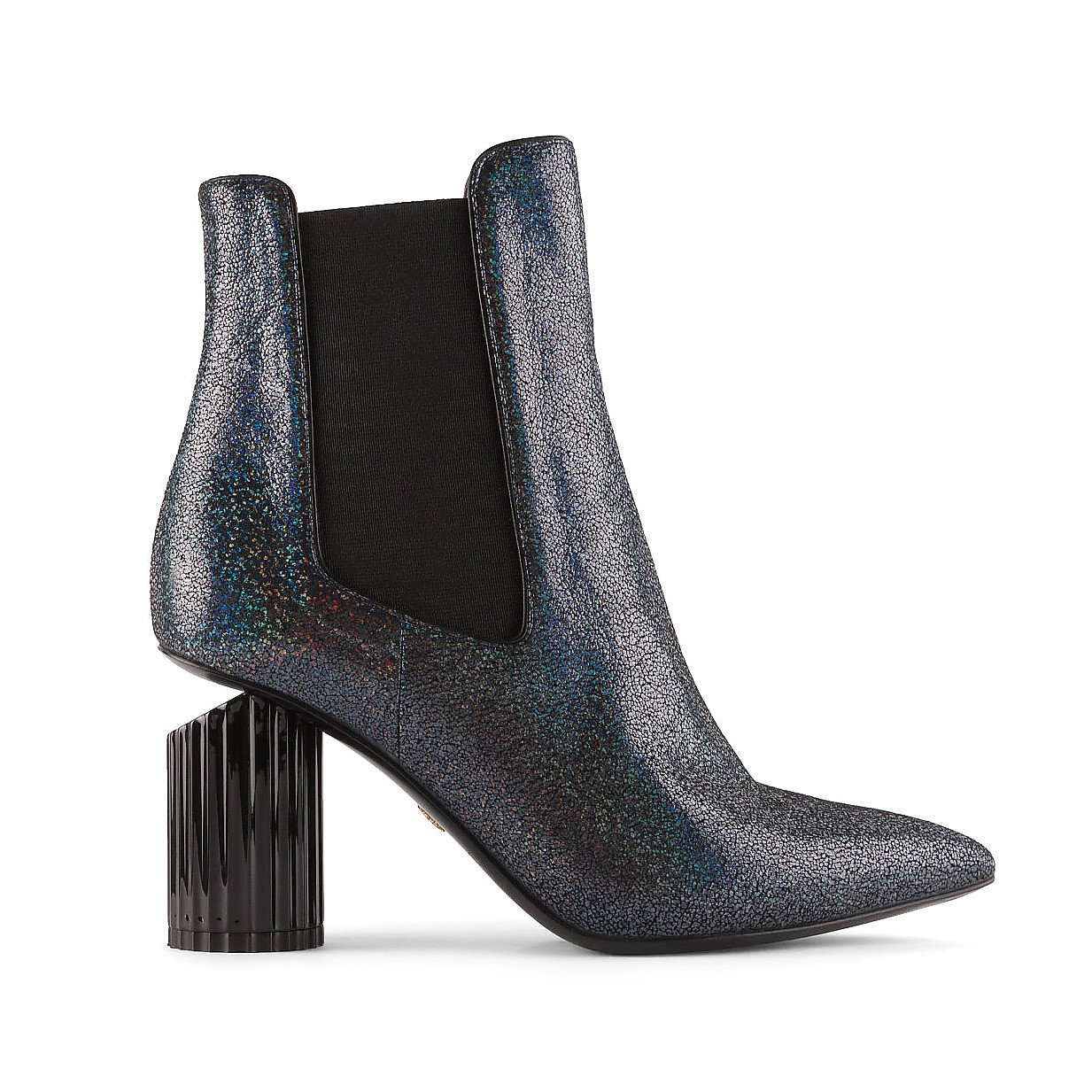 Roberto Cavalli Glittered Leather Boots With Cut Out Heel