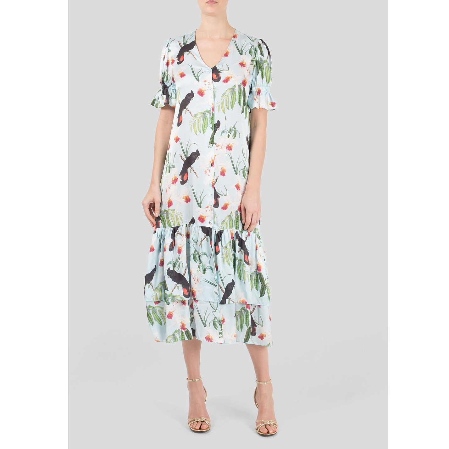 The Latin Runway Orchid Print Button Up Dress