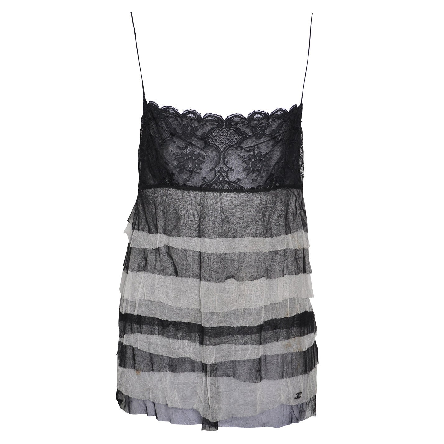 CHANEL Tiered Lace-Trimmed Camisole